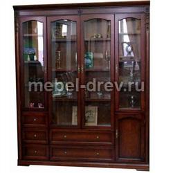 Шкаф книжный 4-х дверный С05 с закрытыми полками без карнизов
