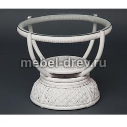 Стол кофейный Andrea белый ротанг
